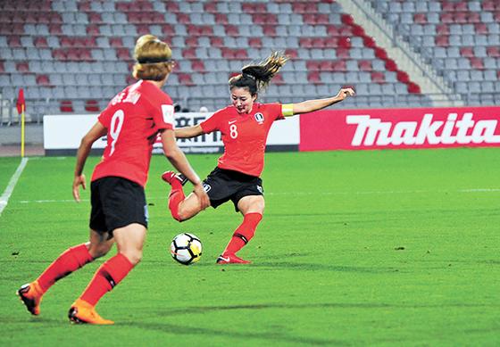 여자 아시안컵에서 3골을 터뜨려 한국의 2회 연속 월드컵 본선 진출을 이끈 조소현. [뉴시스]