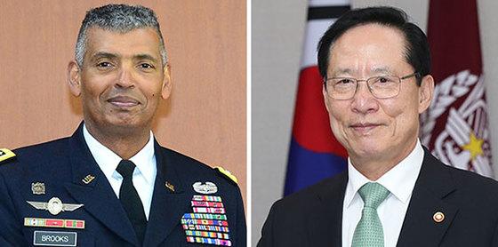 브룩스(左), 송영무(右)