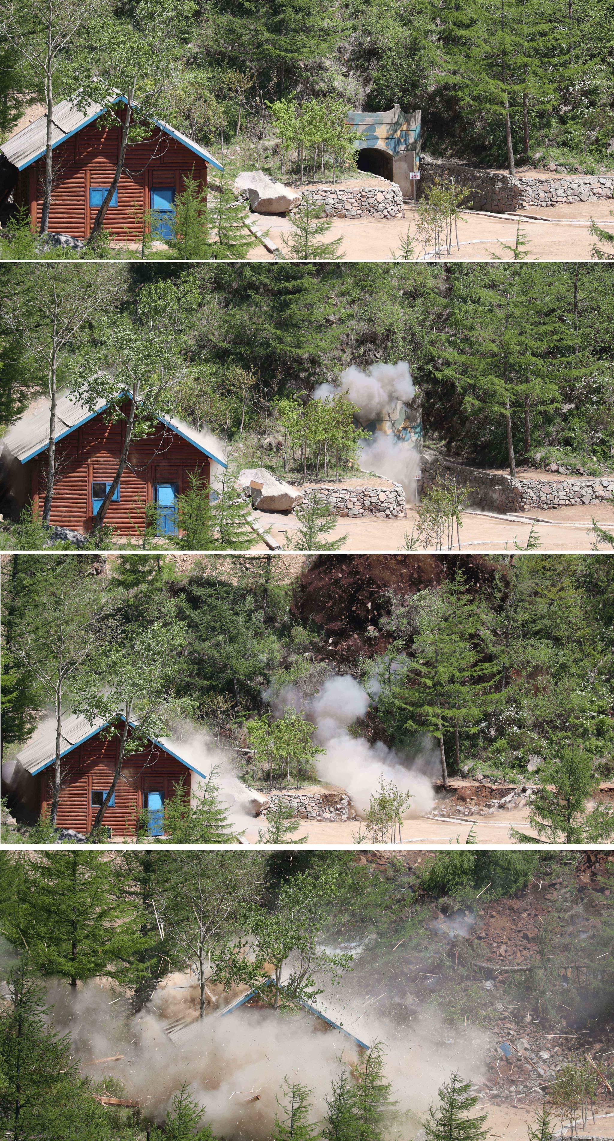 2번 갱도와 옆 관측소 건물의 폭파되는 과정. 사진공동취재단