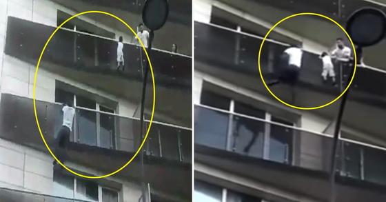 프랑스 파리 아파트 5층 발코니에 매달린 아이를 구하기 위해 20대 청년이 맨손으로 발코니를 오르고 있는 상황 [가디언 유튜브 캡처]