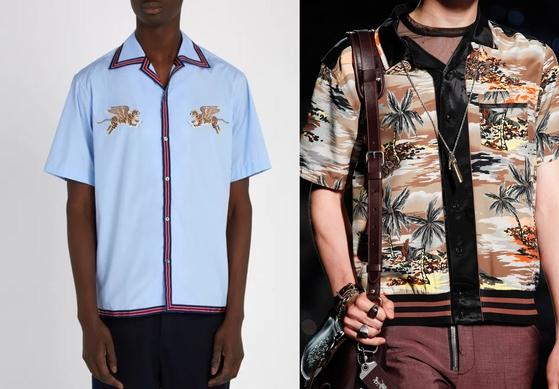 카바나 셔츠의 변형된 형태인 볼링 셔츠도 올해의 남성 셔츠로 제안됐다. 왼쪽은 '구찌', 오른쪽은 '코치1941'이 올 여름 컬렉션으로 선보인 볼링 셔츠들. [사진 매치스패션, 코치1941]