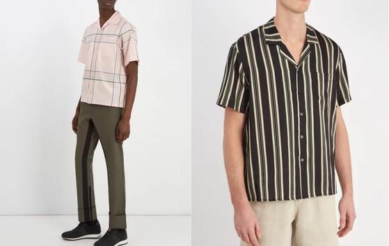 지난해는 화려한 하와이언 프린트의 카바나 셔츠가 주도했다면 올해는 복고 무드가 물씬 풍기는 기하학적인 패턴의 셔츠가 그 바통을 이어 받았다. 핑크색 체크 무늬 셔츠는 '프라다'(왼쪽), 검은색 바탕에 베이지·카키색 스트라이프가 들어간 셔츠는 '콤마스'. [사진 매치스패션]