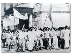 1950년 싱가포르에서 벌어진 종교 갈등 당시 시위 장면.[위키피디아].