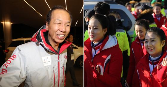 최문순 당선인(왼쪽)과 북한 응원단 [연합뉴스]