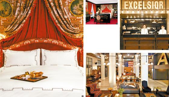 ⑥ ⑦ 세계적인 디자이너 자크 가르시아가 디자인한 '레스케이프'의 아틀리에 스위트 객실. 강렬한 붉은색을 사용해 관능적인 분위기로 꾸몄다. ⑧ 뉴욕 에이스 호텔의 스타일을 보여주는 프론트. 체크인은 물론 숍의 기능도 함께한다. ⑨'에이스 호텔' 1층은 스텀프타운커피를 비롯해 편안한 의자와 테이블이 있어 투숙객이 아니어도 편하게 이용할 수 있다.