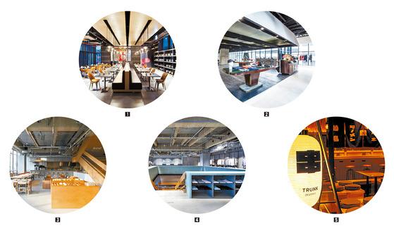 요즘 호텔은 숙박만을 위한 공간이 아니다. 다양한 콘텐트를 담아 즐길 거리가 풍성하다. ① ② 라이즈 호텔은 호텔 내 일반적인 뷔페 대신 타이 레스토랑 '롱침'을 입점시켰다. 2층에는 홍대 앞 특유의 스트리트 패션문화를 반영한 편집숍 '웍스아웃'이 있다. ③ ④ 도쿄에 있는 '호텔 코에'는 호텔을 넘어선 복합문화공간으로 유명하다. 사진은 1층 카페와 2층의 패션 편집숍. ⑤ 도쿄 '트렁크 호텔'에서 제일 인기 있는 공간인 꼬치구이집.