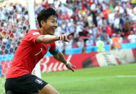 2018 FIFA 러시아 월드컵 F조 조별예선 한국과 독일의 경기가 27일 카잔 아레나에서 열렸다. 손흥민이 골을 터트린 뒤 기뻐하고 있다. 임현동 기자