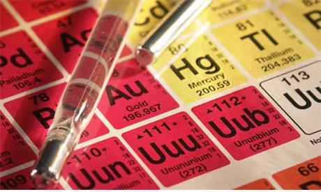 수은의 원소기호는 Hg이다.