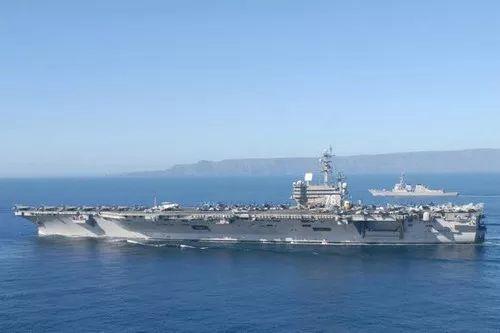 미 해군 핵항모 레이건함. 현재 필리핀 인근 남중국해 해역을 순시하고 있다. [사진=천광원 웨이신]