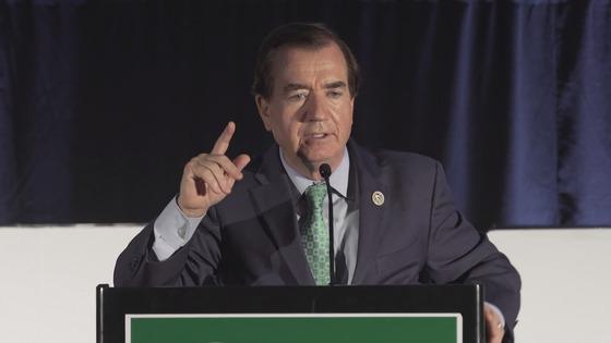 에드 로이스 미 하원 외교위원장(공화당)이 12일 워싱턴 제5회 한인 풀뿌리대회 만찬 행사에서 연설하고 있다.[시민참여센터 제공]