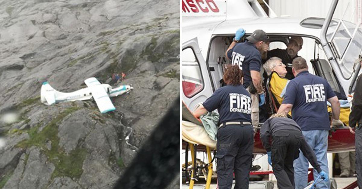 알래스카 산악지대에 추락한 경비행기(왼쪽)과 구조된 탑승자(오른쪽) [AP=연합뉴스]