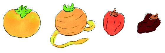 노석미 작가가 그린 감. 단단한 감이 곶감이 돼 가는 과정을 표현했다. [사진 사이행성]