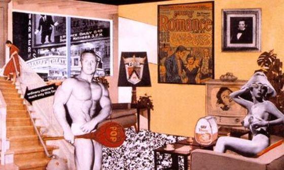 리처드 해밀턴 <오늘의 가정을 그토록 색다르고 멋지게 만드는 것은 무엇인가>, 1956년 콜라주 작품