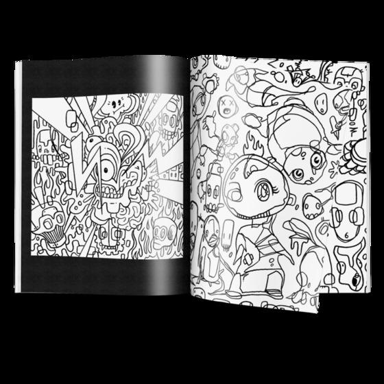 '포스트 트라우마틱' 아트북에 삽입된 스케치. 팬들이 직접 색을 입힐 수 있다. [사진 시노다 홈페이지]
