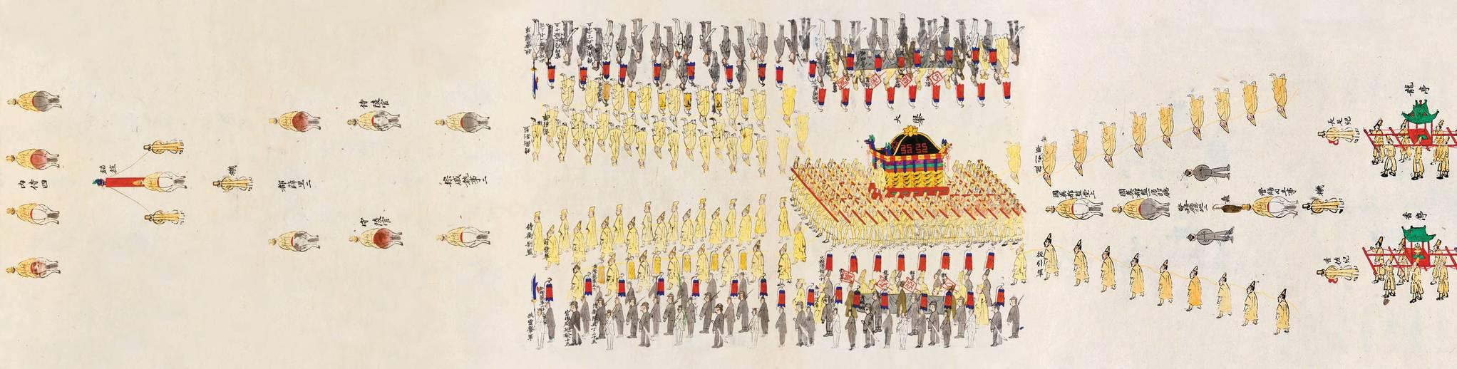 명성황후 발인 반차도. 1895년 10월 8일 을미왜변이 일어난 지 2년2개월 후인 1897년 11월 22일의 명성황후 장례식 장면이다. 상여를 메고 장지로 향하는 행렬을 묘사했다. '명성황후 국장도감 의궤'에 실려 있다. [사진 국립고궁박물관 대한제국관]