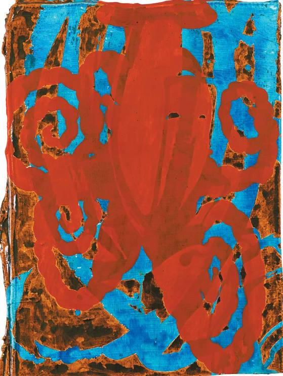'Fleurette Africane'(2009), Ink·acrylic·tempera and gesso on leather mounted on panel, 38.4 x 27.9 cm