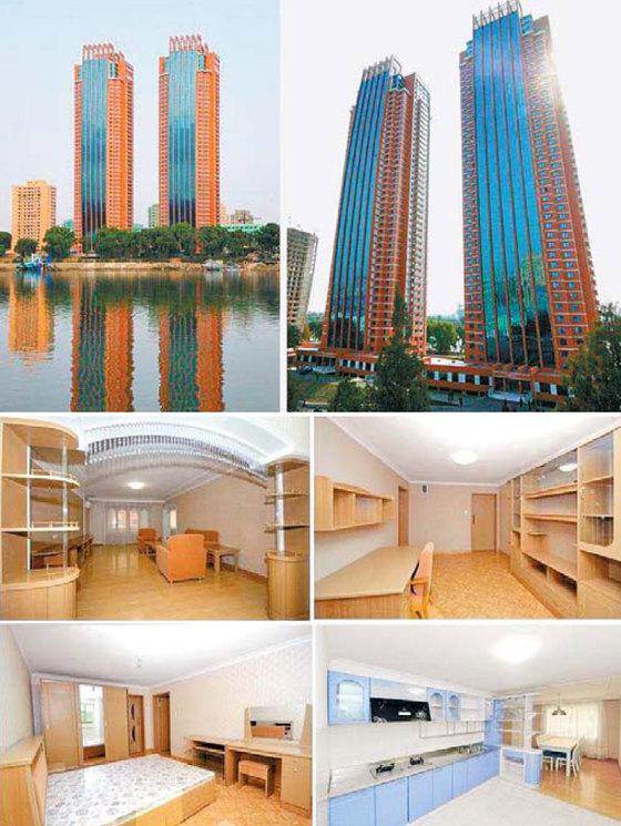 북한의 과학자 양성기관인 김책공업종합대학의 교육자를 위한 살림집. 대동강변에 지어진 46층 아파트 내부 모습이 우리나라 아파트와 비슷하다.