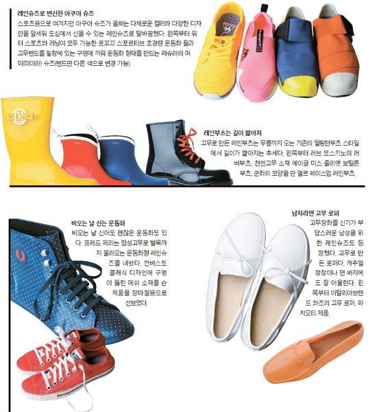 8a6625ba714 직장인 김은영(30·서초구 방배동)씨는 장마철이 다가오면서 신발 때문에 걱정이 이만저만이 아니다. 지난해엔 무릎까지 올라오는 레인부츠를  즐겨 신었지만 올해는 ...