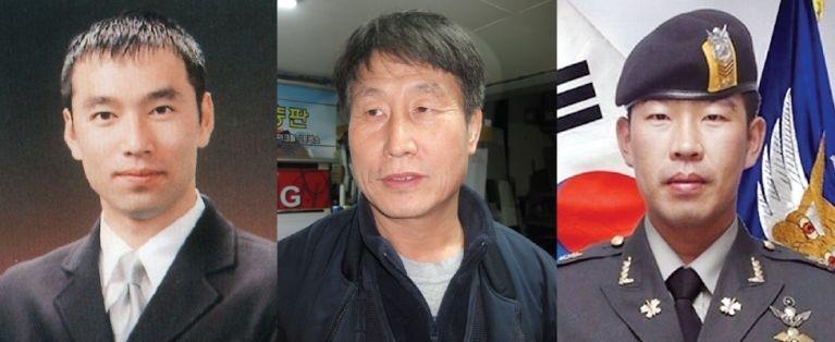 故 이수현씨, 이승선씨, 故 정연승 상사(왼쪽부터).