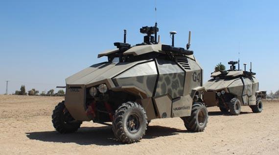<b>다목적 무인차량</b> 정찰을 하고, 짐을 나르거나 부상병을 후송하고, 전투를 수행한다. 사람이 조종할 수 있고, 완전 자율주행도 가능하다. 사진은 이스라엘이 실전배치 한 다목적 무인차량 가디엄. [사진 IDF]