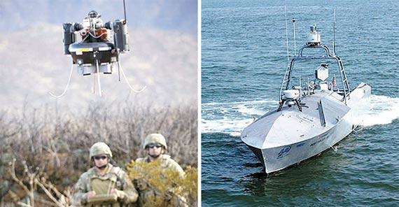 우리 군의 개발계획이 성공하면 앞으로 공중과 해상 정찰은 미니 드론과 무인 수상정이 수행할 것이다. 사진은 미니 드론 RQ-16(왼쪽)과 무인 수상정 CUSV. [사진 미 육군·해군]