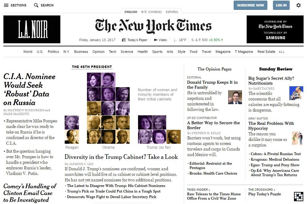 [사진 뉴욕타임스 홈페이지]