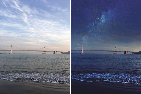 Before & After 구름 낀 낮의 하늘이 'Nebula' 필터를 입히자 은하수 드리운 밤의 하늘로 바뀌었다.