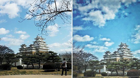 Before & After 원본과 비교하면 보정 후 사진에서 오사카성의 모습이 한눈에 더욱 잘 들어오는 느낌이다.