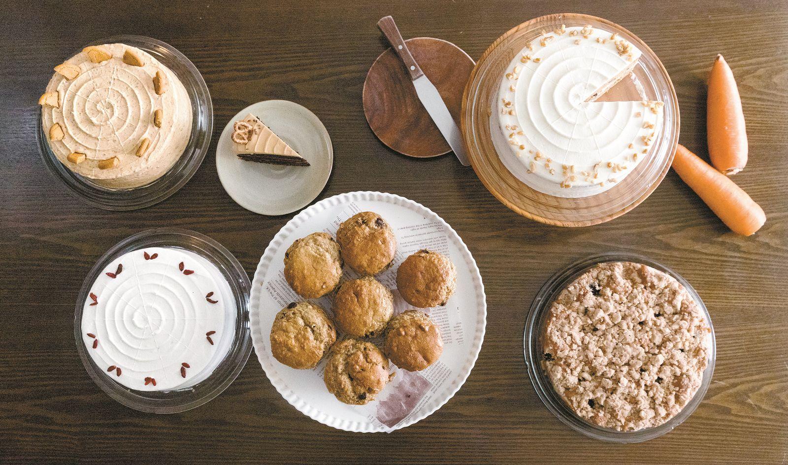 이태원에 있는 채식 베이커리 겸 식당 '플랜트'가 만들어내는 다양한 종류의 케이크와 머핀.