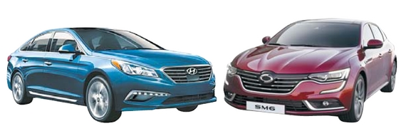 중형자동차 업종 2017 NBCI 공동 1위를 차지한 쏘나타(왼쪽)와 SM6.