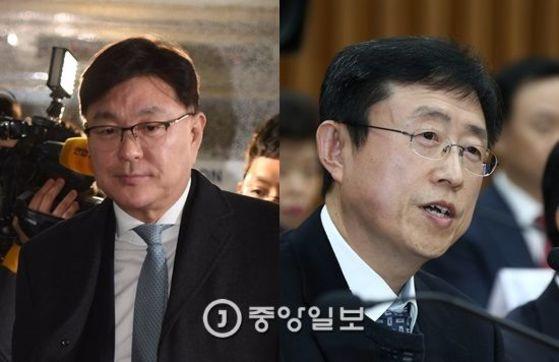 김영재 원장(왼쪽)과 김상만 전 녹십자아이메드 원장 [중앙포토]