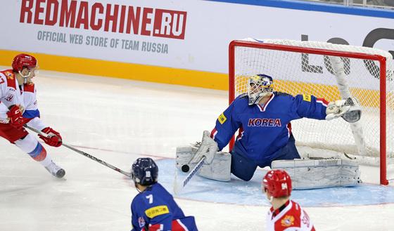 아이스하키 한국-러시아 경기 모습
