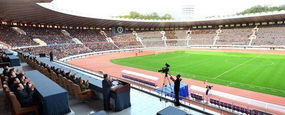 지난해 10월 현대화 공사를 마친 평양 김일성 경기장의 내부 모습. [사진= 조선의 오늘]