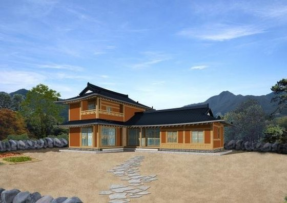 전통미 살린 농촌주택 2층 'ㄱ'자형 모델
