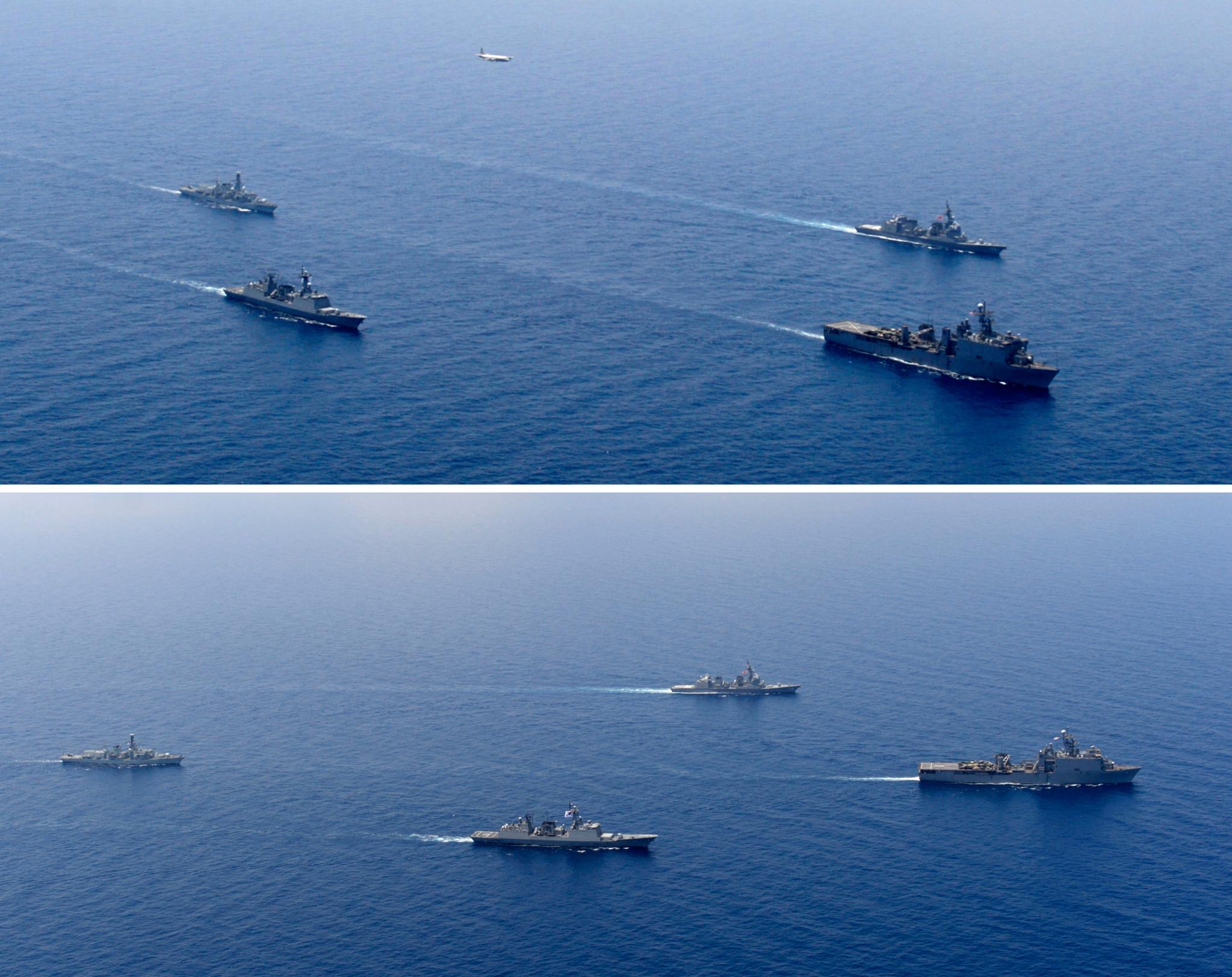 청해부대 23진 최영함, 미국 카터홀함, 일본 테루즈키함, 영국 몬머스함이 20일(현지시간) 아덴만에서 능형진(다이아몬드 진형)을 이루어 전술기동훈련을 하고 있다. [사진 합참]