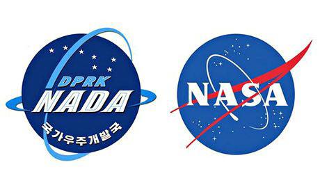 2014년 3월 북한 국가우주개발국(NADA)이 공개한 로고(좌)와 미 항공우주국(NASA)의 마크(우)의 모습, 당시 두 도안의 모양이 유사해 논란이 있었다. [사진=중앙포토]