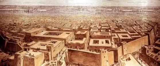 인더스 문명을 상징하는 모헨조다로 유적을 토대로 그린 당시 도시의 상상도.