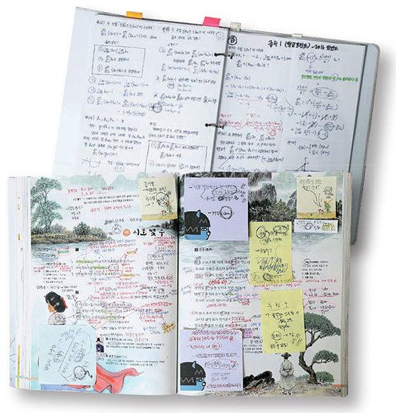 수업 필기로 빼곡한 홍수진양의 문학 교과서(아래)와 수학 오답노트.