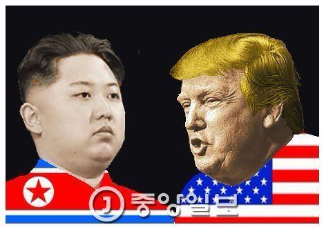 김정은 북한 노동위원장과 도널드 트럼프 미국 대통령(오른쪽).