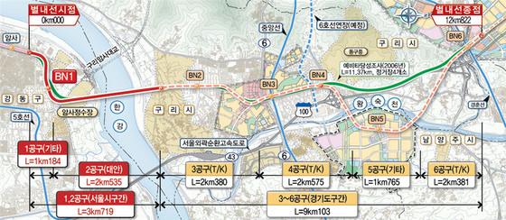 지하철 8호선 별내선 연장계획 [사진 서울시]