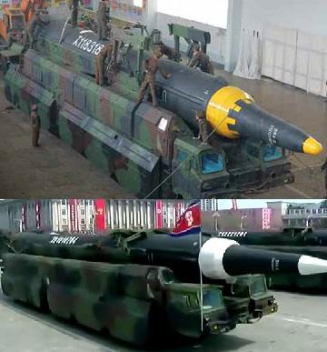 북한이 지난 15일 공개한 '화성-12'(위쪽)과 지난달 15일 열병식에 등장한 전략탄도미사일의 모습. [사진=노동신문]