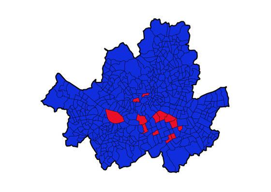 서울시 동(행정동 기준)별로 어떤 후보가 득표율 1위를 차지했는지 표시했다. 빨간색은 홍준표 후보가 1위, 파란색은 문재인 대통령이 1위인 곳이다. 데이터 시각화=코드나무 김승범
