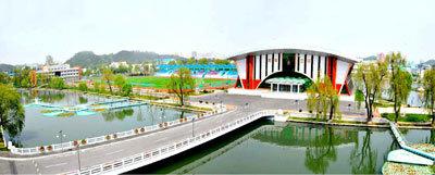 평양 보통강변에 새로 건설된 체육촌의 모습. [사진=노동신문]