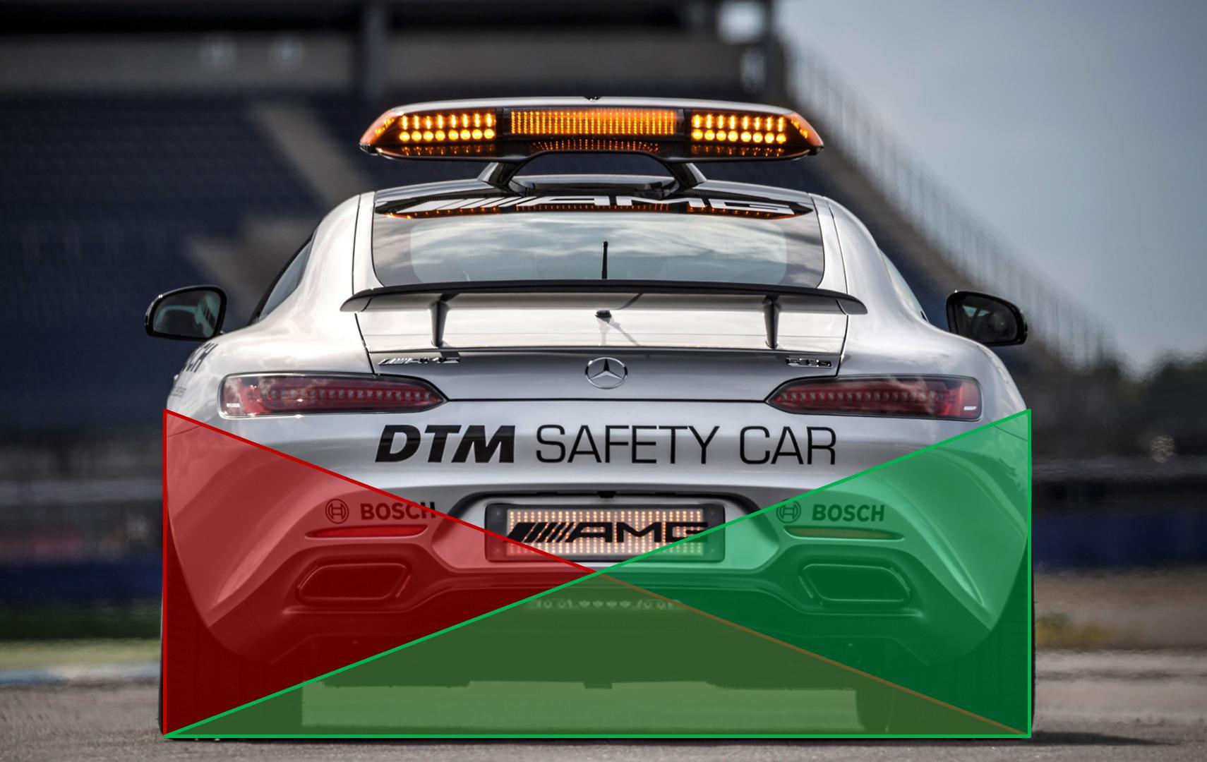 차량의 스티어링 휠을 오른쪽으로 감을 경우(빨간색) 왼쪽으로, 왼쪽으로 감을 경우(초록색) 오른쪽으로 하중이 이동한다. 사진 : Mercedes AMG DTM 홈페이지