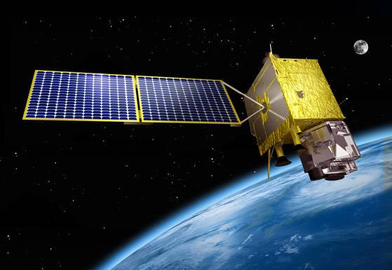 위성본체가 기상 탑재체를 싣고 우주에서 한반도를 촬영하는 모습을 가상으로구상한 상상도.[사진 항우연]