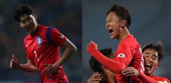 축구대표팀의 손흥민과 U-20 대표팀의 이승우는 한국 축구를 이끌 주역들로 관심을 모은다. [중앙포토]