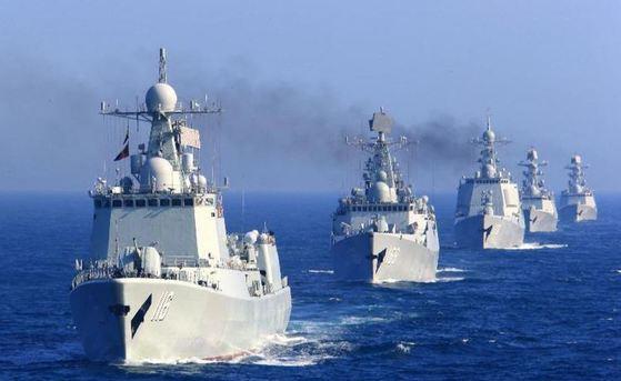 해상 훈련 중인 중국 함대 [사진 바이두]