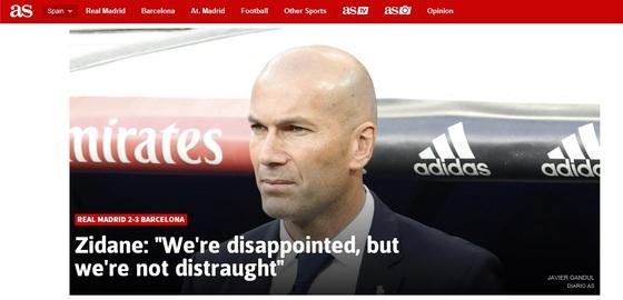 지네딘 지단 레알 마드리드 감독의 심경을 전한 스페인 언론 아스 홈페이지.