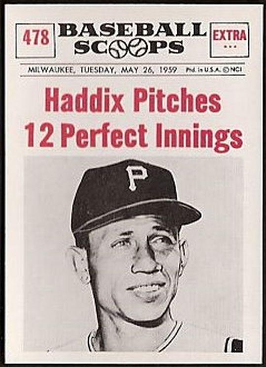 하베이 하딕스의 밀워키전 12이닝 퍼펙트 기록이 담긴 당시 야구 카드.