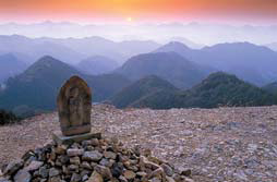 세계문화유산에 등재된 와카야마현 구마노고도 전경.